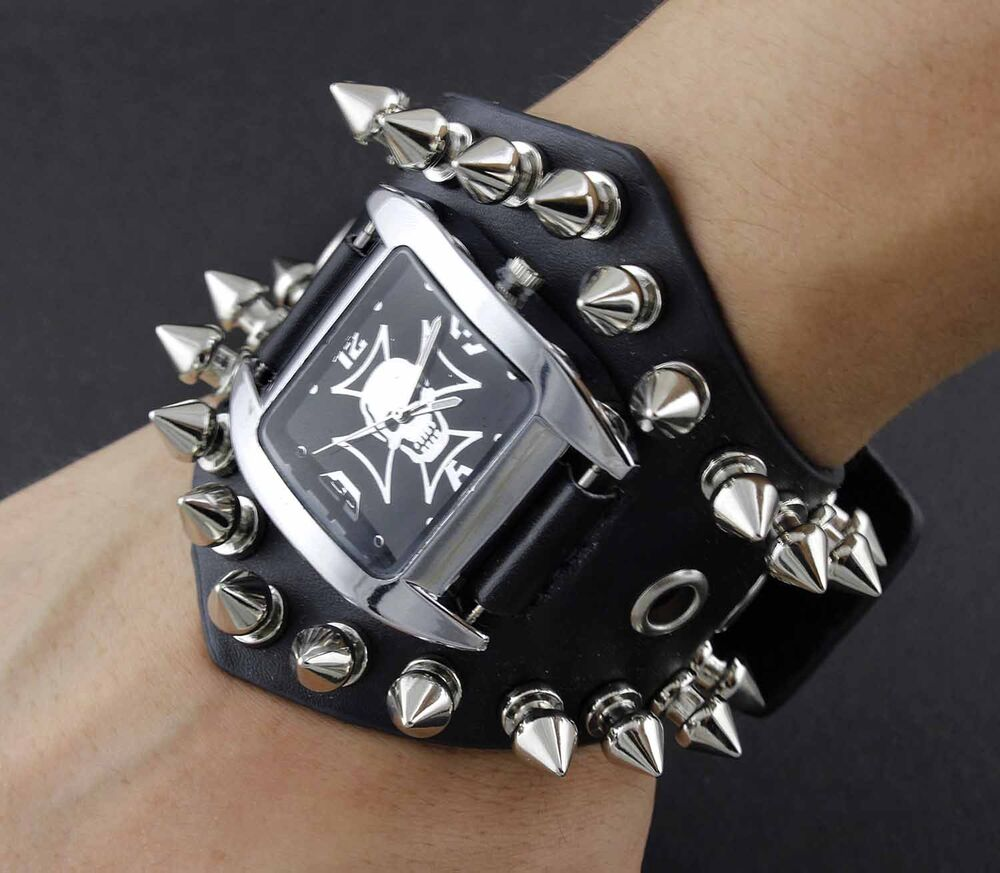 men 39 s punk biker sharp metal rivet skull chain leather bracelet watch wristwatch ebay