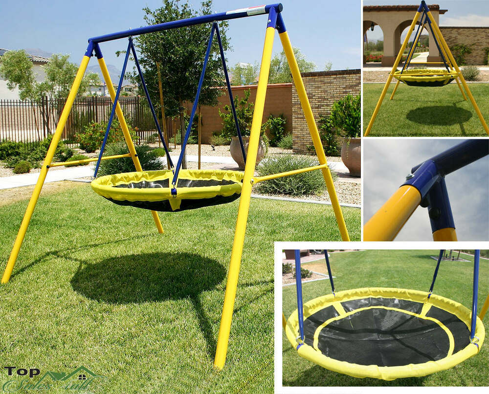 Playground swing set toddler outdoor backyard kids ufo for How to build a swing set for adults