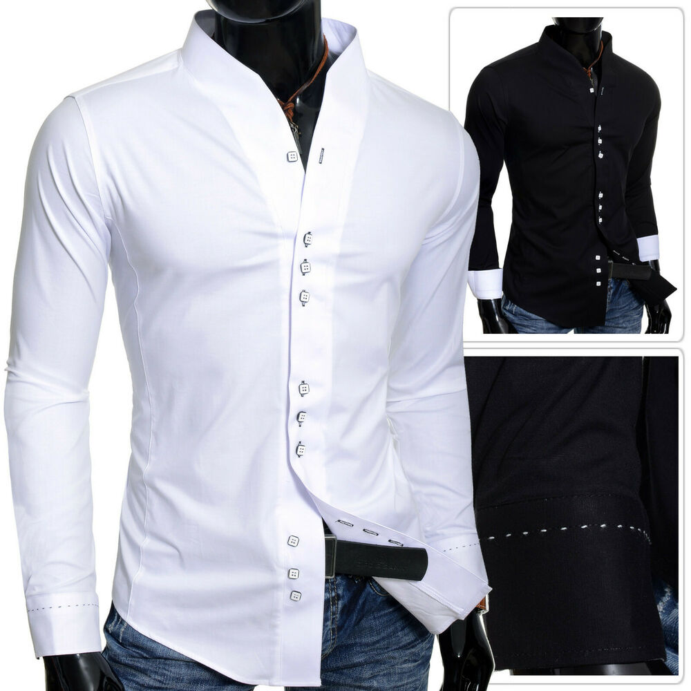 Mens Slim Fit Party Dress Shirt Collarless Long Sleeve Square