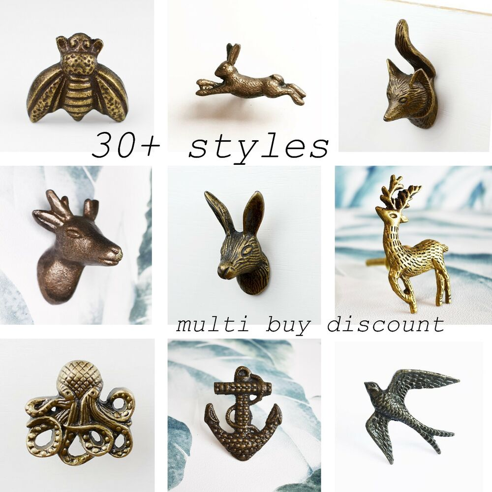 Vintage Metal Animal Ceramic Door Handle Drawer Knob Hare