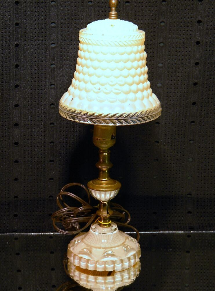 Vintage Art Deco Hobnail Glass Vanity Boudoir Table Lamp With Matching Shade Ebay
