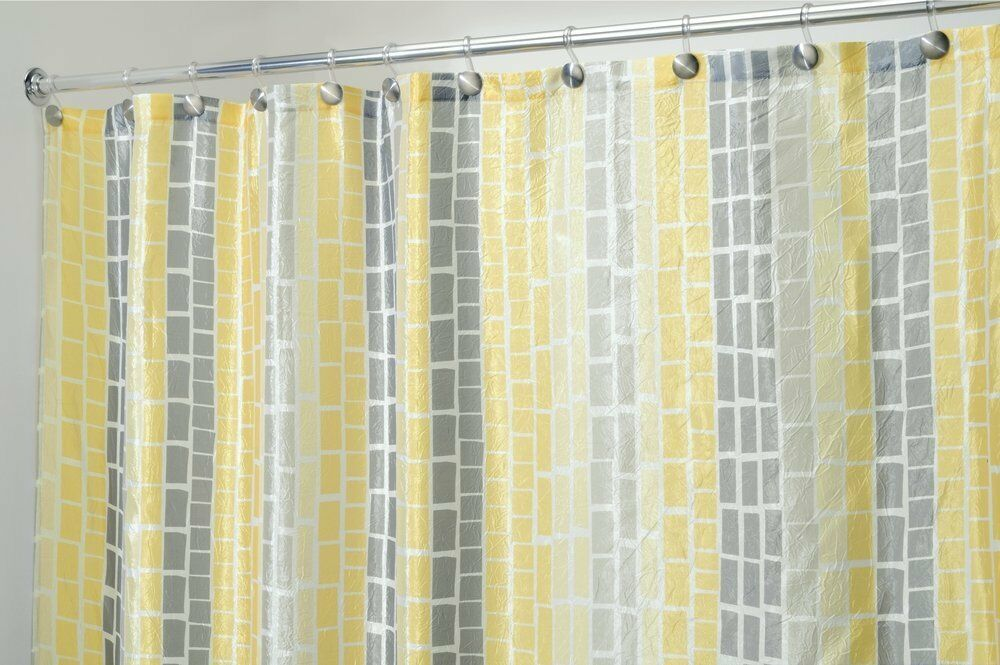 MDesign Crinkle Stripe Fabric Shower Curtain