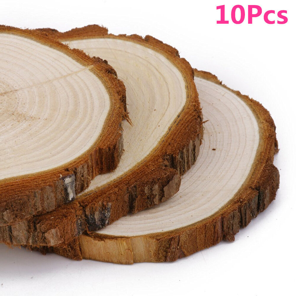 10pcs round log slices discs wooden wood crafts