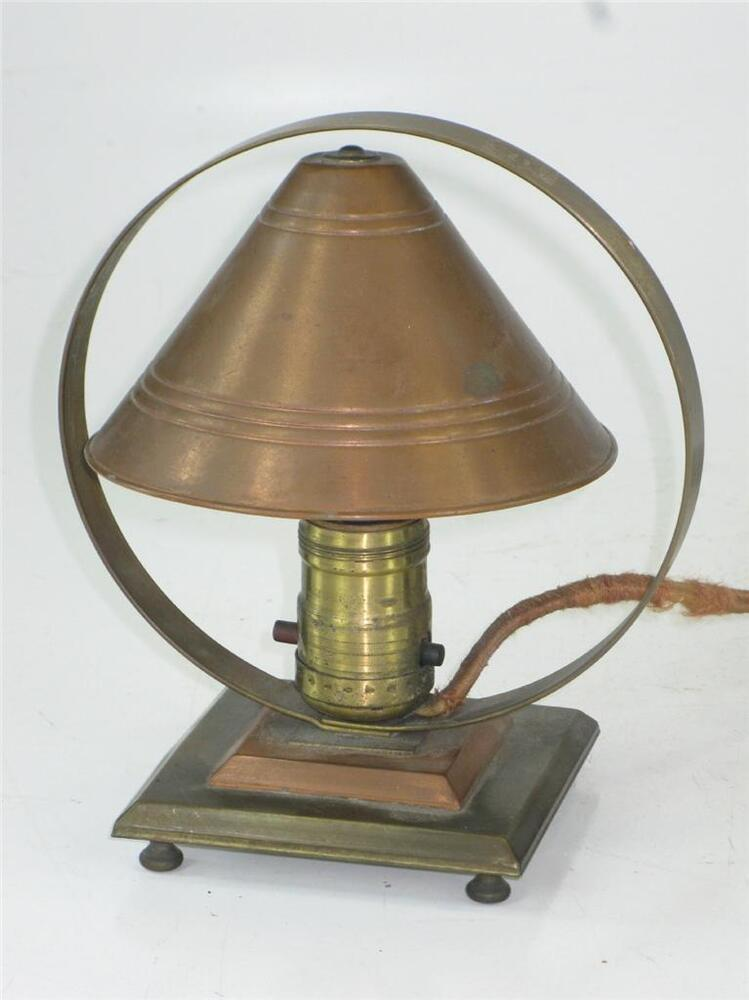 Arts crafts copper desk table lamp night light art deco for Arts and crafts light
