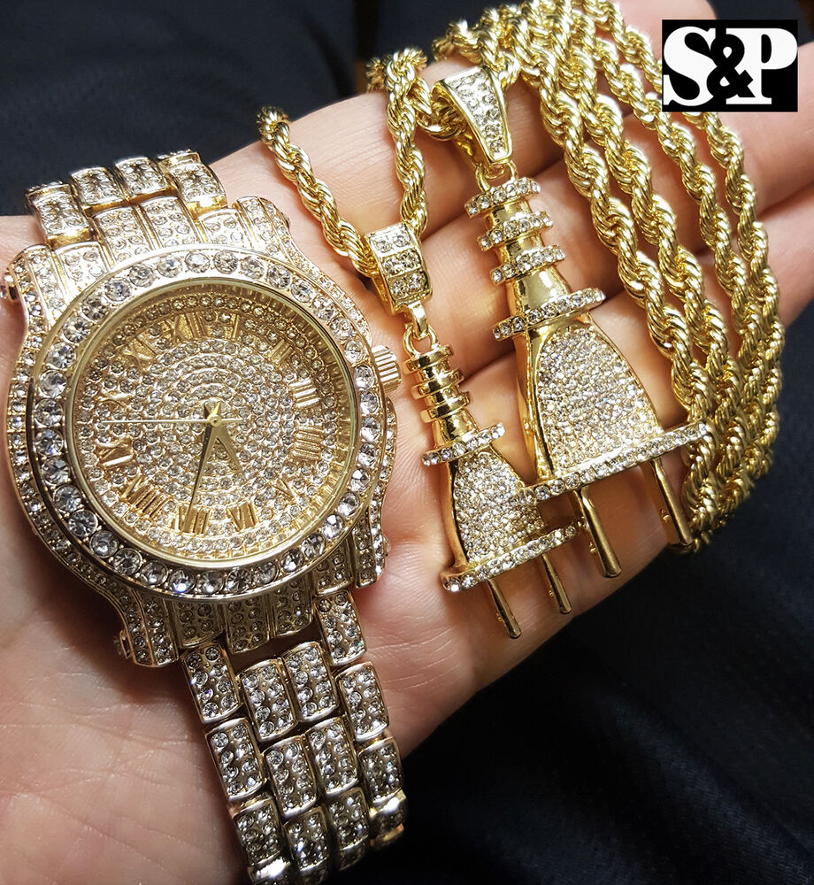 Men Luxury Hip Hop Iced Out Lab Diamond Watch & Power Plug
