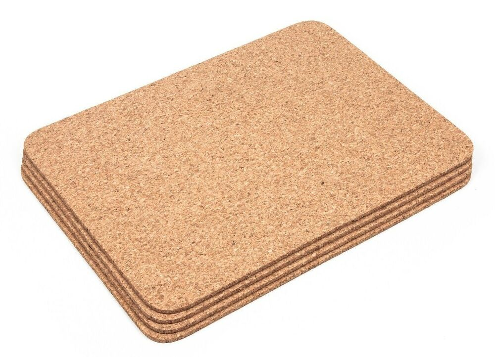 Thick cork rectangular placemats coasters table mats for Table placemats