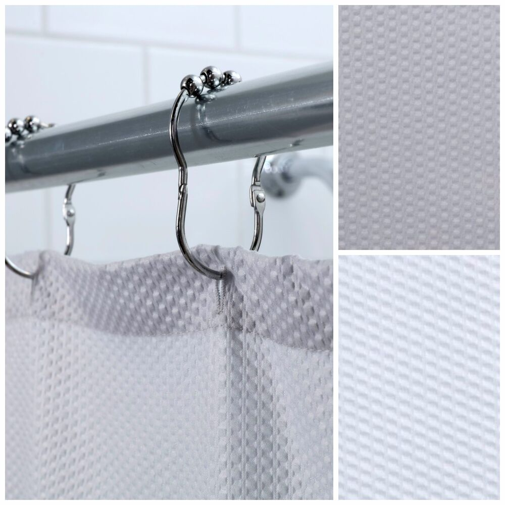 Textured Hotel Fabric Shower Curtain White Or Gray