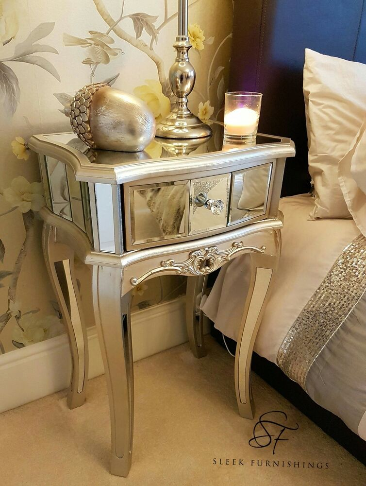 pair of mirrored bedside tables mirrored bedroom furniture side table
