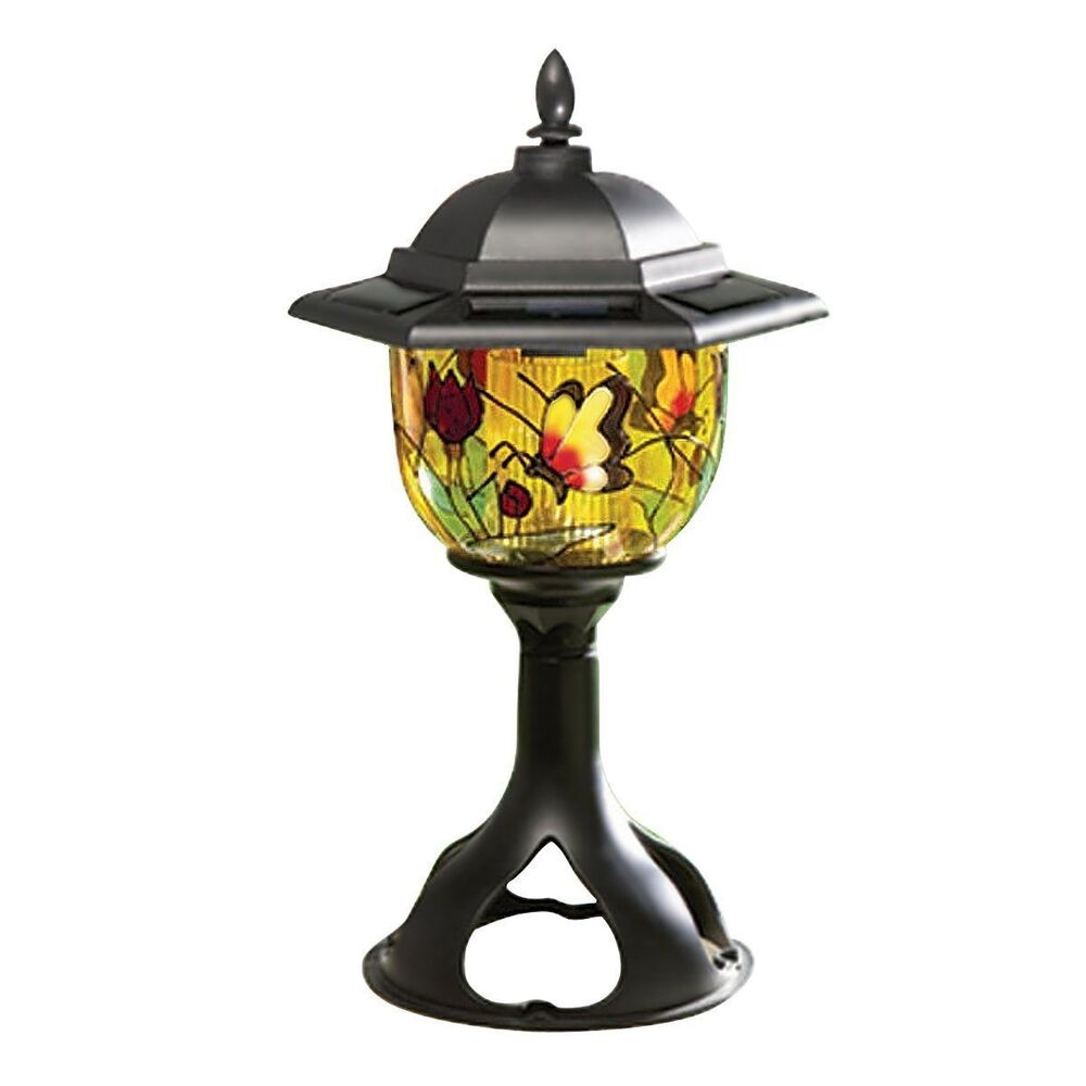 Outdoor solar light led lamp lantern decor lighting post path yard garden patio ebay for Solar exterior post lantern light