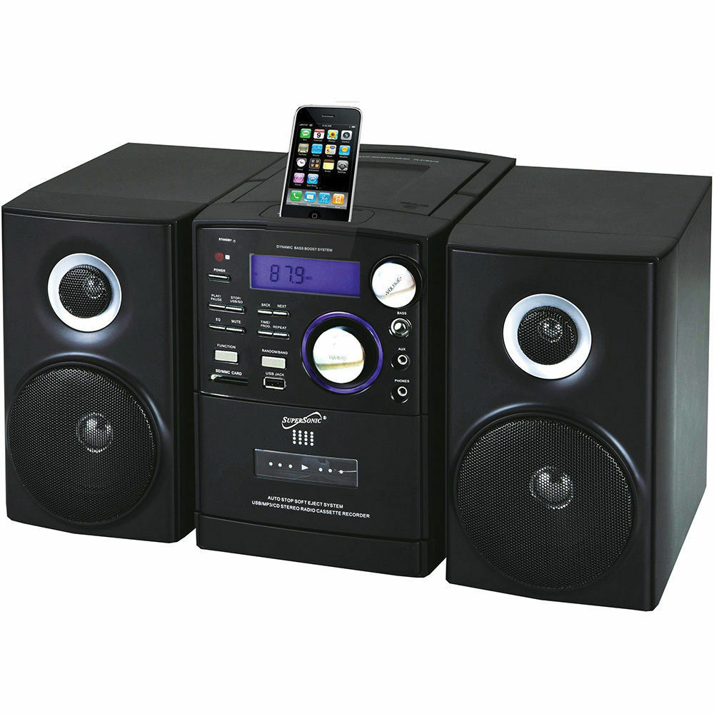 new supersonic cd player cassette mp3 aux in usb sd am fm radio remote ipod dock 704121324587 ebay. Black Bedroom Furniture Sets. Home Design Ideas