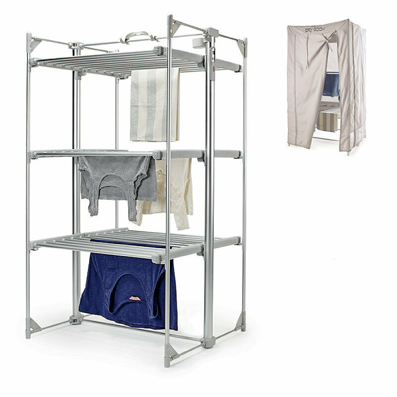 Dry Soon Deluxe 3 Tier Heated Airer Amp Cover Pack Under 6p