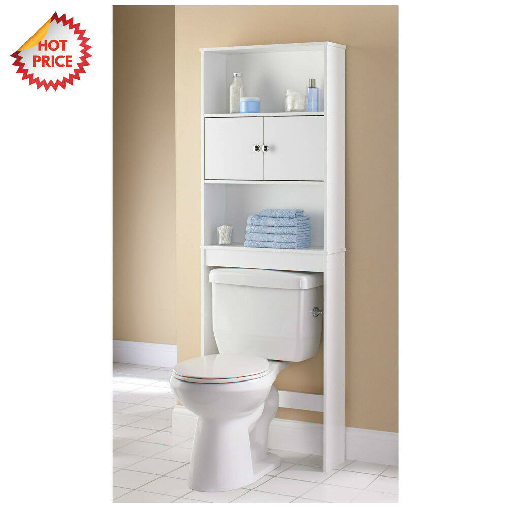 3 Shelf Bathroom Organizer Over The Toilet Storage Space Saver Towel Wood Rack Ebay