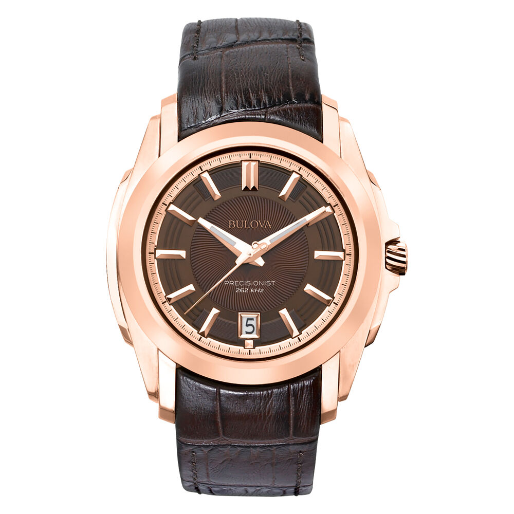 Bulova men 39 s 97b110 longwood quartz rose gold case brown leather strap watch ebay for Leather strap watches