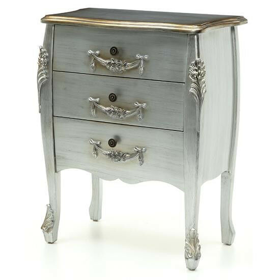 Sale French Rococo Style Ornate Silver Bedroom 3 Chest Of Drawers New Ebay