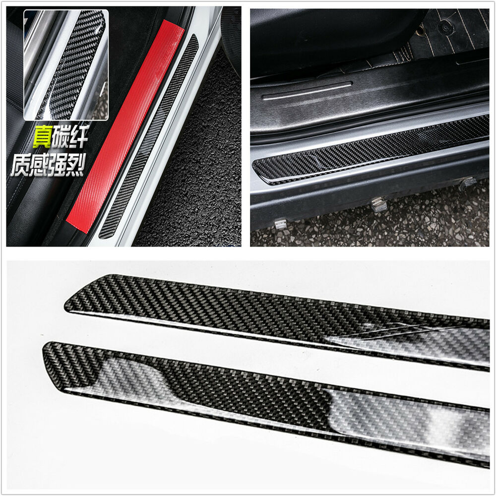 2x universal real carbon fiber car door scuff plate sill cover panel protector ebay. Black Bedroom Furniture Sets. Home Design Ideas