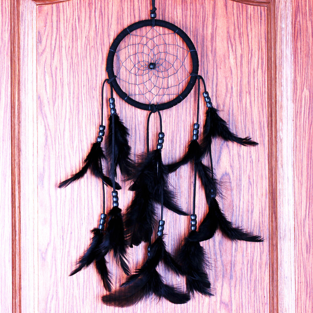 Retro dream catcher circular black feathers wall hanging for Art for decoration and ornamentation