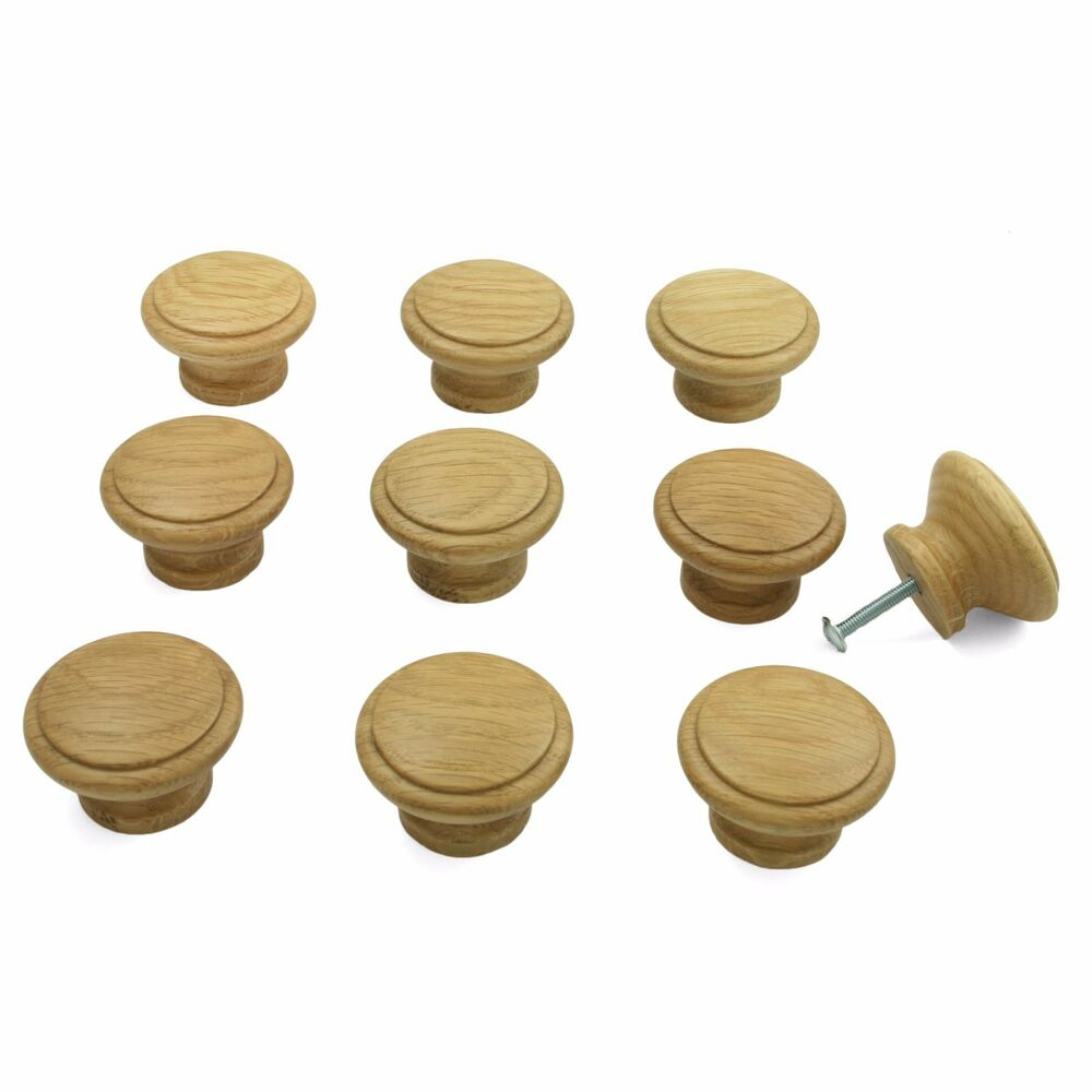 10 X Oak Wooden Kitchen Cupboard Cabinet Door Drawer Knobs 42mm Diameter