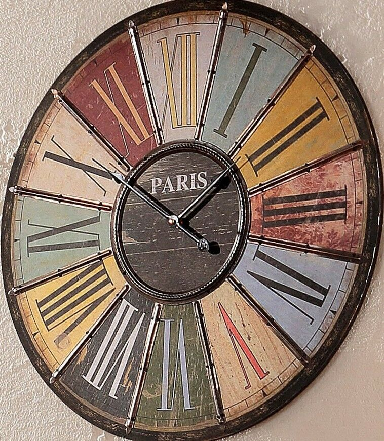 Large vintage roman paris numeral multi colour wall clock ebay - Large roman numeral wall clocks ...