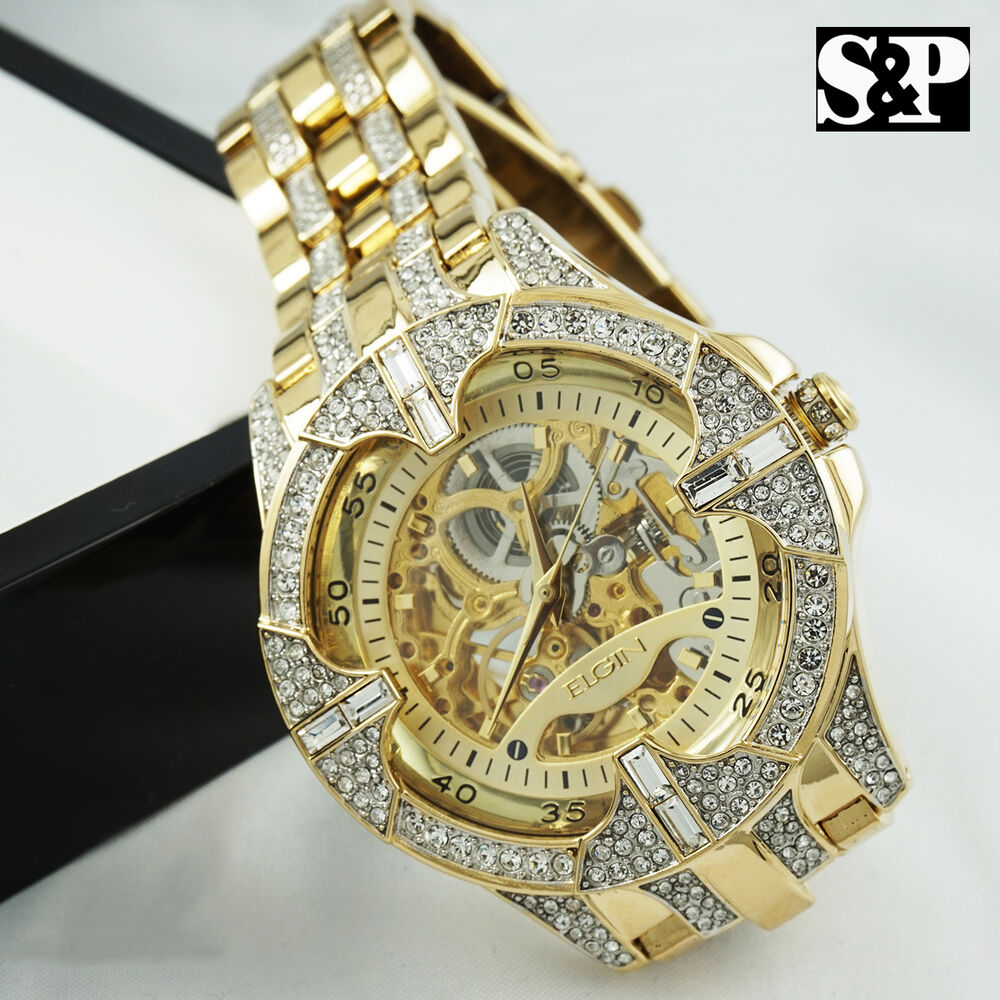 Men Elgin Iced Out Skeleton Automatic Stainless Steel ...