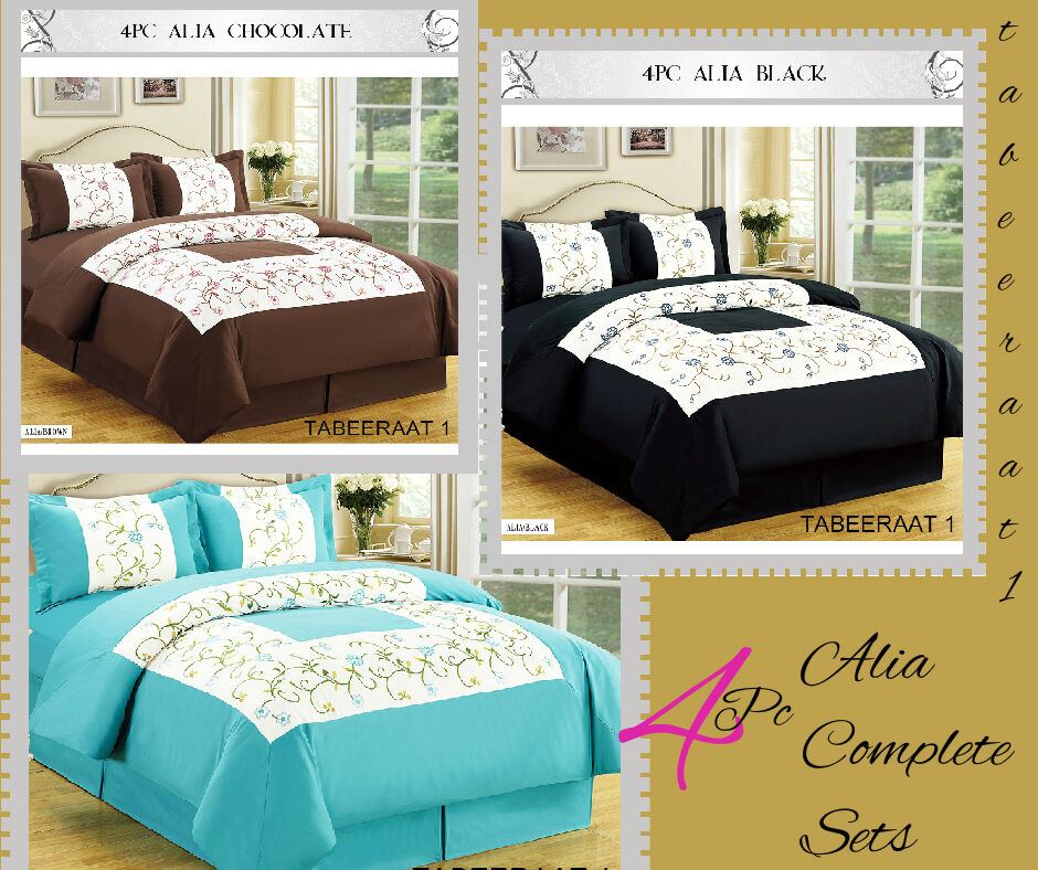 4 Pc Embroidered Duvet Cover Bedding Set Matching Curtains Teal Black Chocolate Ebay