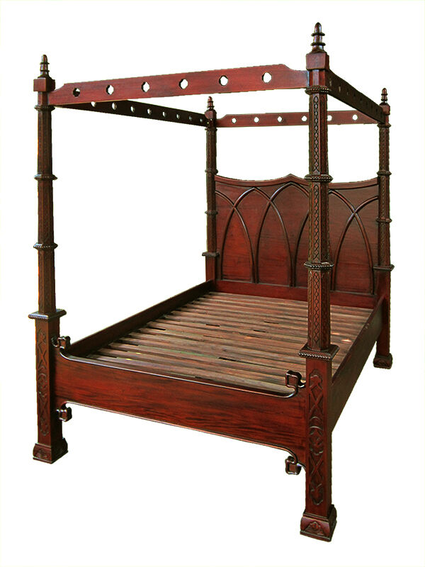 antique repro gothic style mahogany 4 poster canopy bed