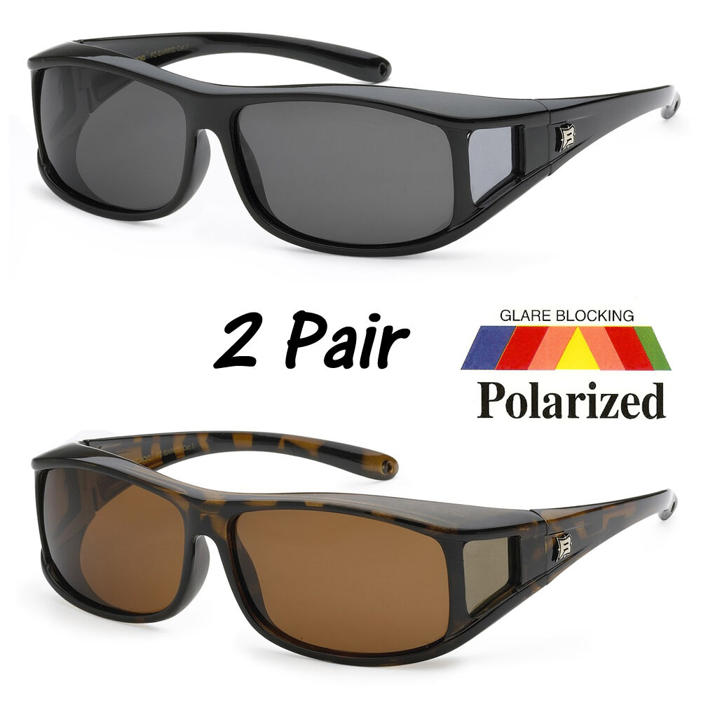 2 PCs POLARIZED cover put over Sunglasses wear Rx glass ...