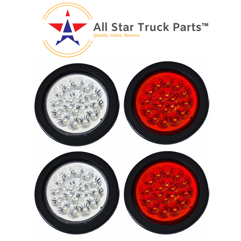 4 U0026quot  18 Led Round Stop Turn Tail Backup Reverse Truck Lights