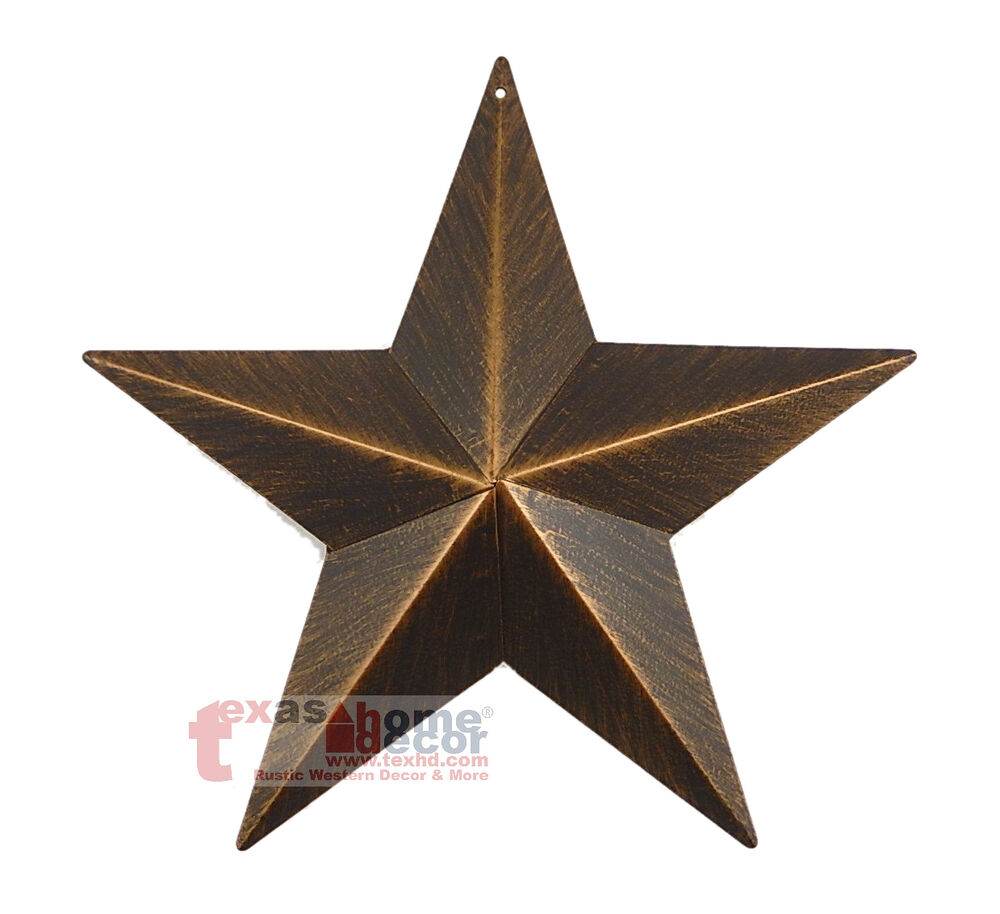 9 rustic metal barn star brushed copper texas tin wall mounted decor western ebay. Black Bedroom Furniture Sets. Home Design Ideas