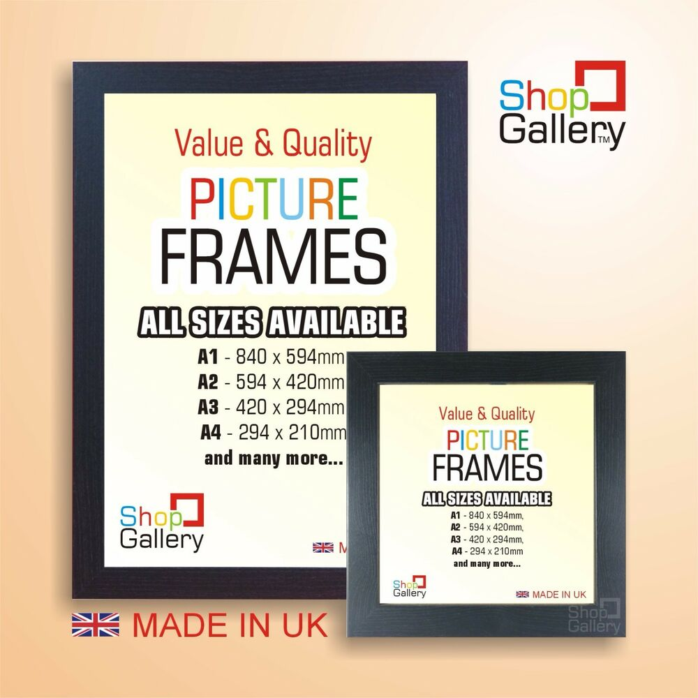 BLACK PICTURE PHOTO POSTER FRAME WOOD EFFECT SQUARE And A1