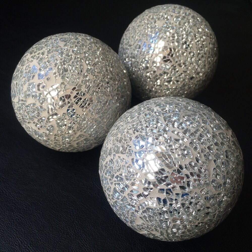 Set of silver mirror mosaic decorative glass balls