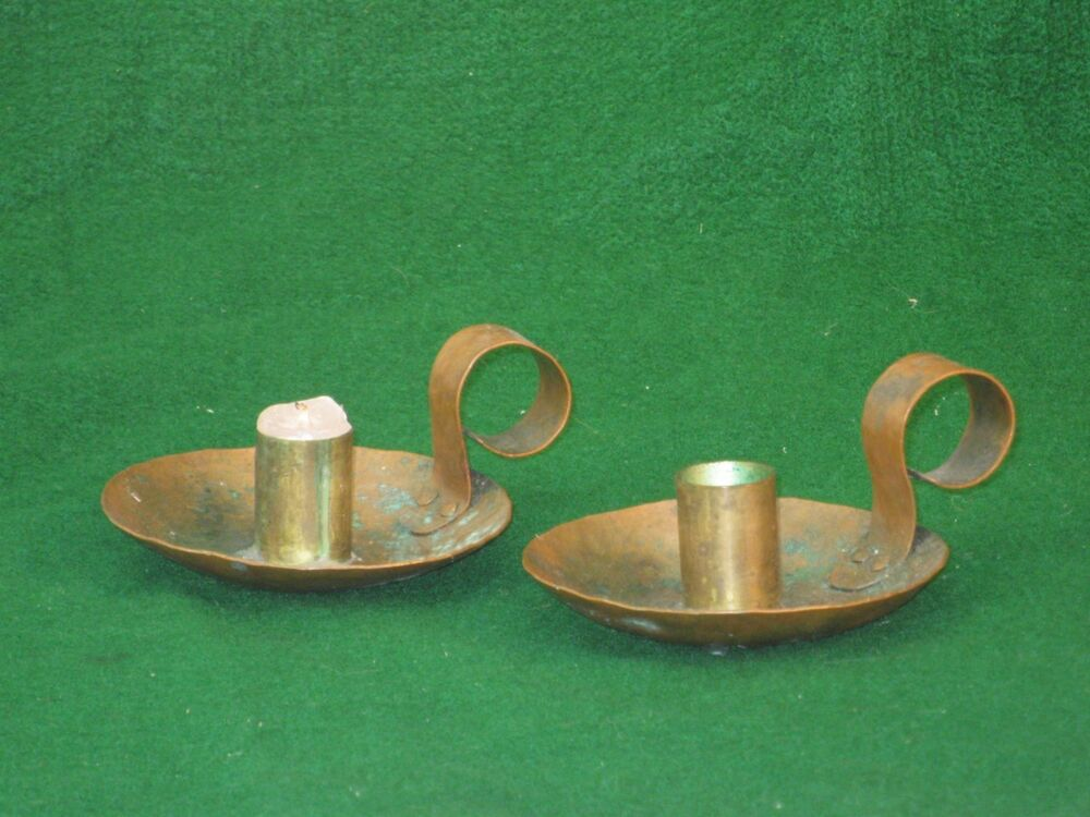 Pair hand hammered arts and crafts copper candle holders for Arts and crafts candle sconces