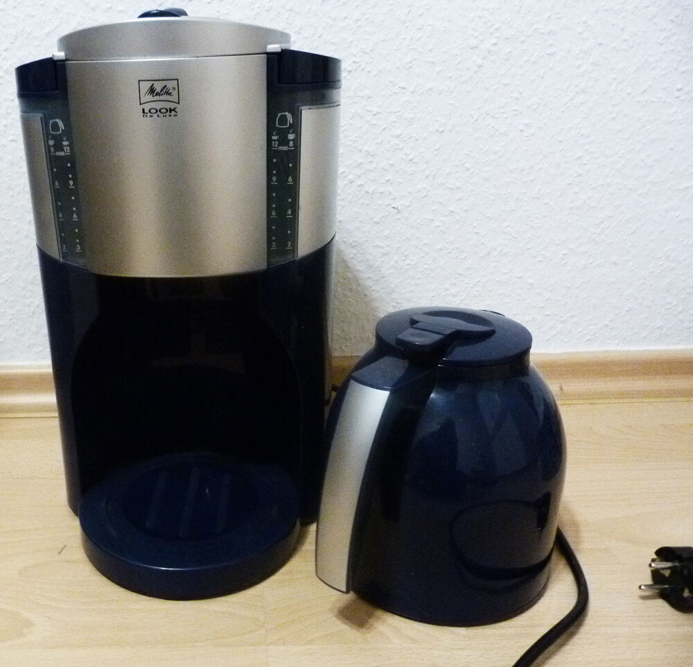 kaffeemaschine melitta thermokanne look de luxe blau silber 12 tassen 950 w 230v ebay. Black Bedroom Furniture Sets. Home Design Ideas