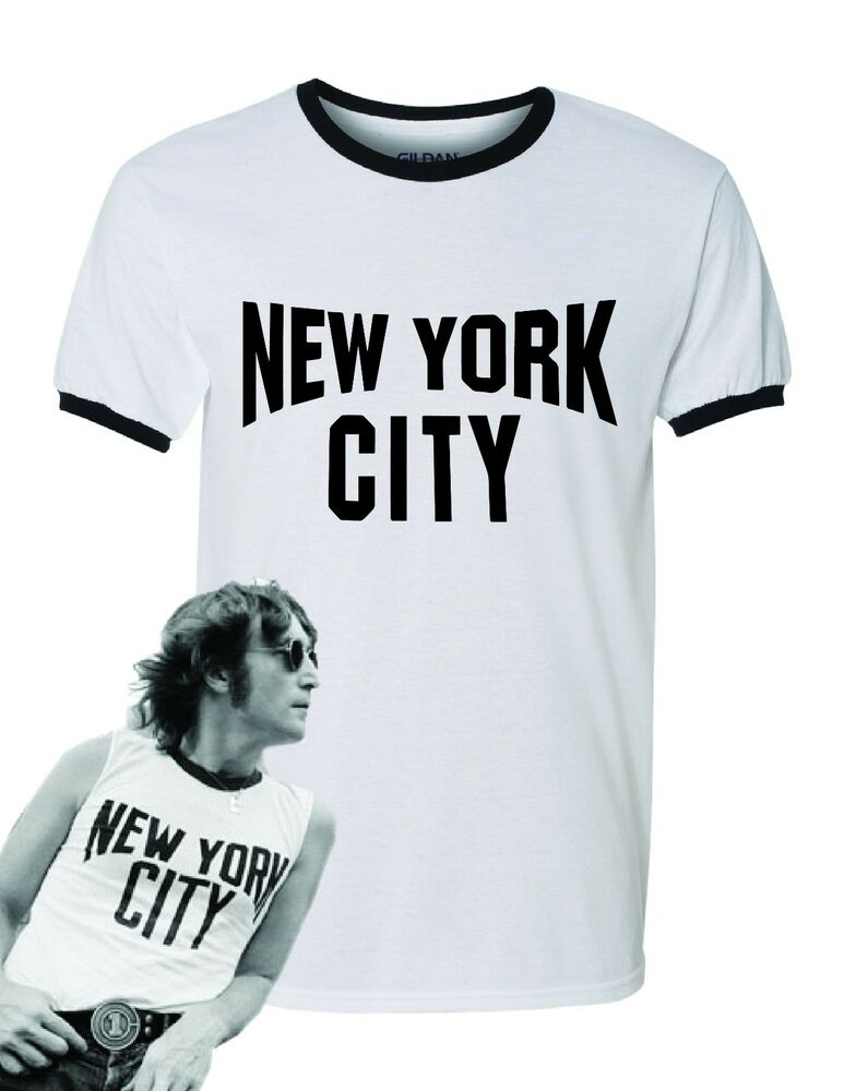 Details about John Lennon Ringer Black and White New York City T-Shirt The  Beatles NYC NEW 0a366a8cec1
