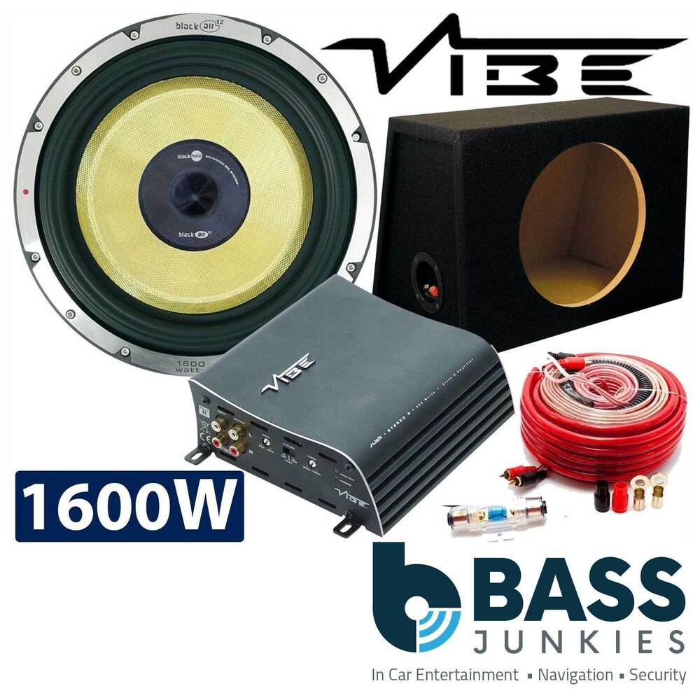 Vibe 1600 Watts Blackair 12 Car Sub Bass Subwoofer 1000w Mono Amp Wiring Kit Instructions Box Ebay