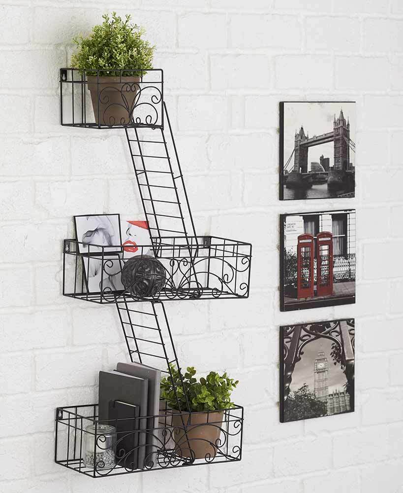 Fire Escape Wall Shelves Ladder Modern Home Wall Decor