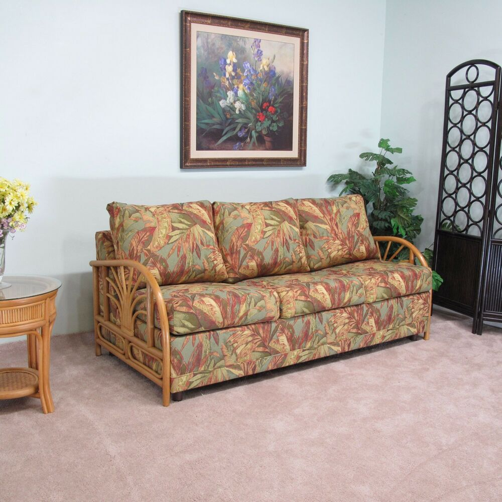 Made In Usa Premium Contract Quality Rattan Queen Sofa