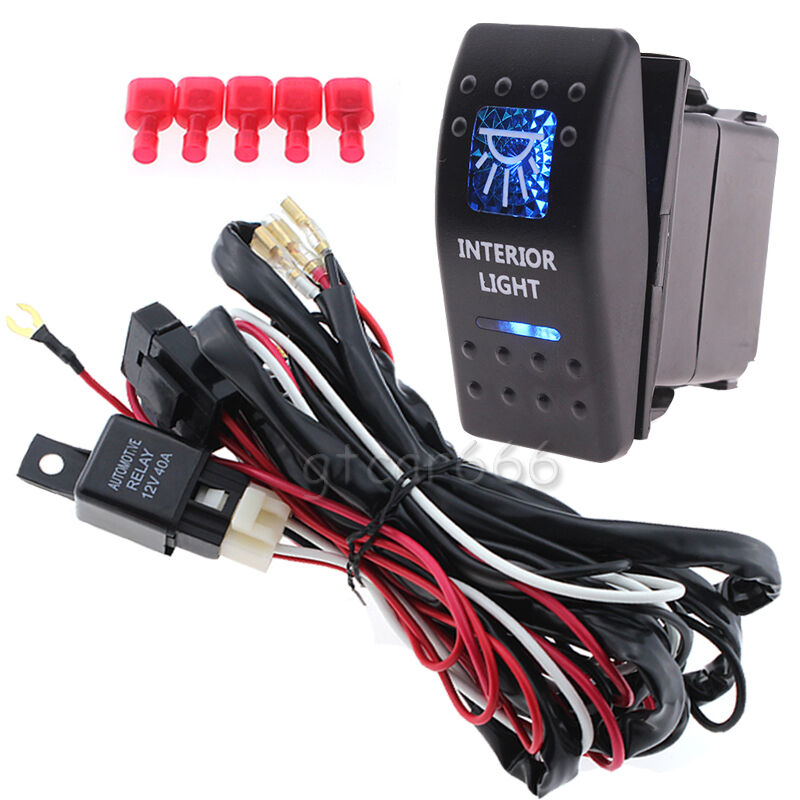 12v blue led 5 pin car interior light rocker switch on off. Black Bedroom Furniture Sets. Home Design Ideas