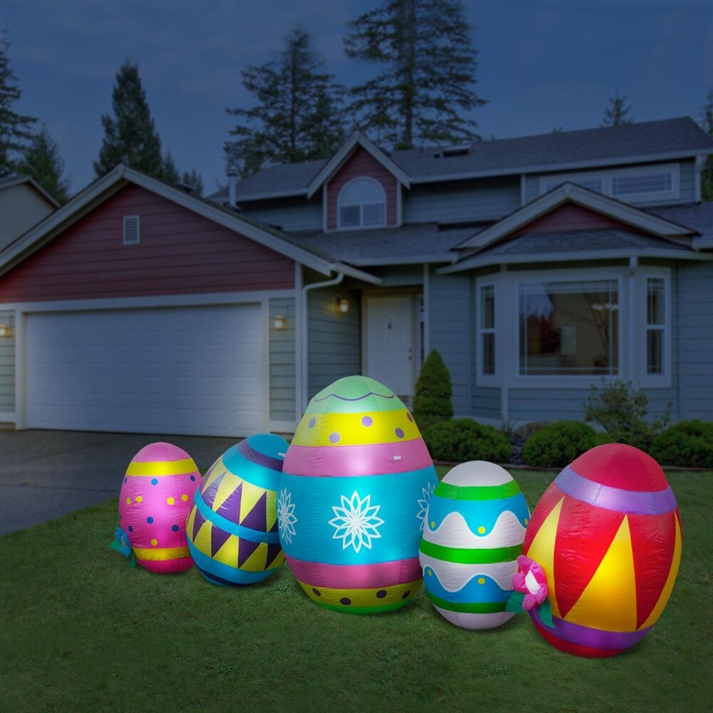 Inflatable easter eggs led lighted 10 39 w yard easter for Outdoor lighted decorations