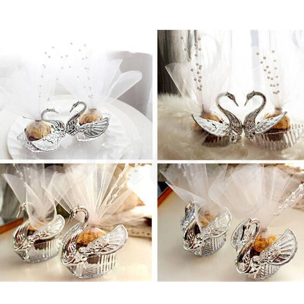 Wedding Gift Boxes: European Romantic Swan Wedding Favor Gift Box Candy Boxes
