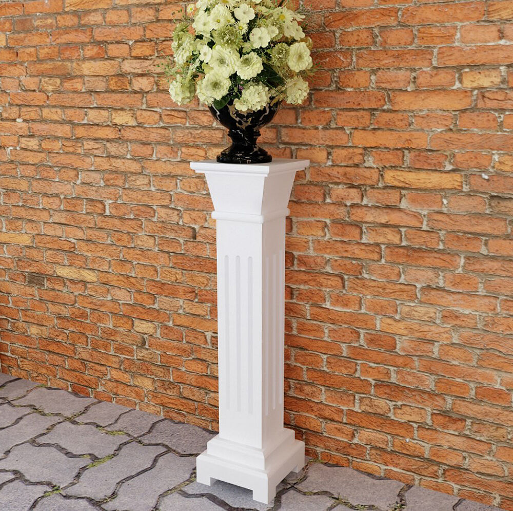 Pedestal Plant Stand White Tall Column Wooden Display
