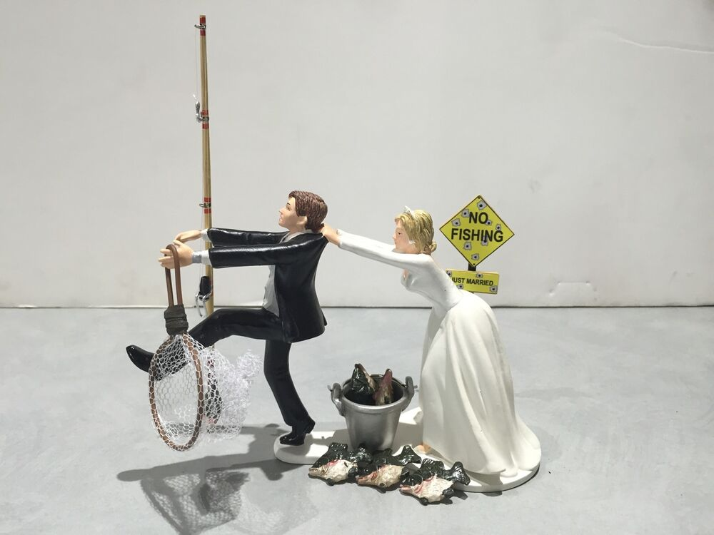 fishing cake toppers fish fishing wedding cake topper humor groom 4084