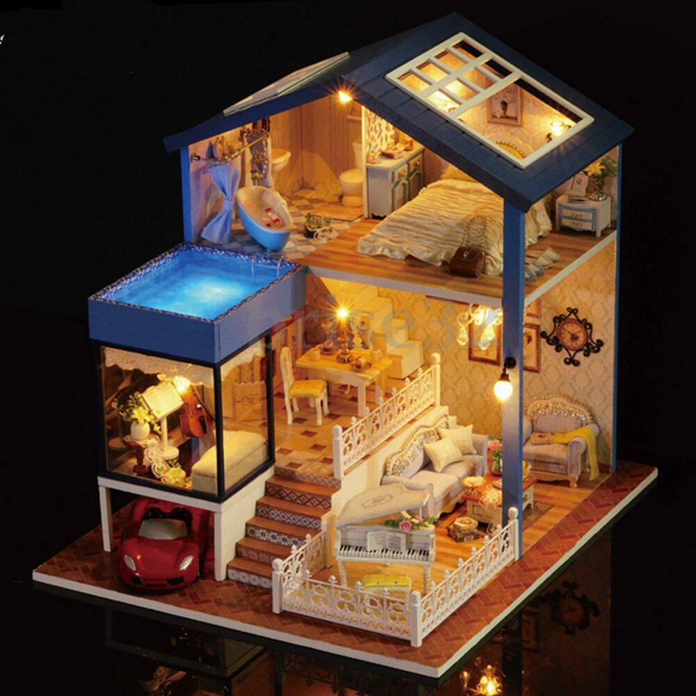 dollhouse lighting. Seattle Cottage Dollhouse Miniature DIY Kit Dolls House With Furniture Gift New 925905520579 | EBay Lighting A