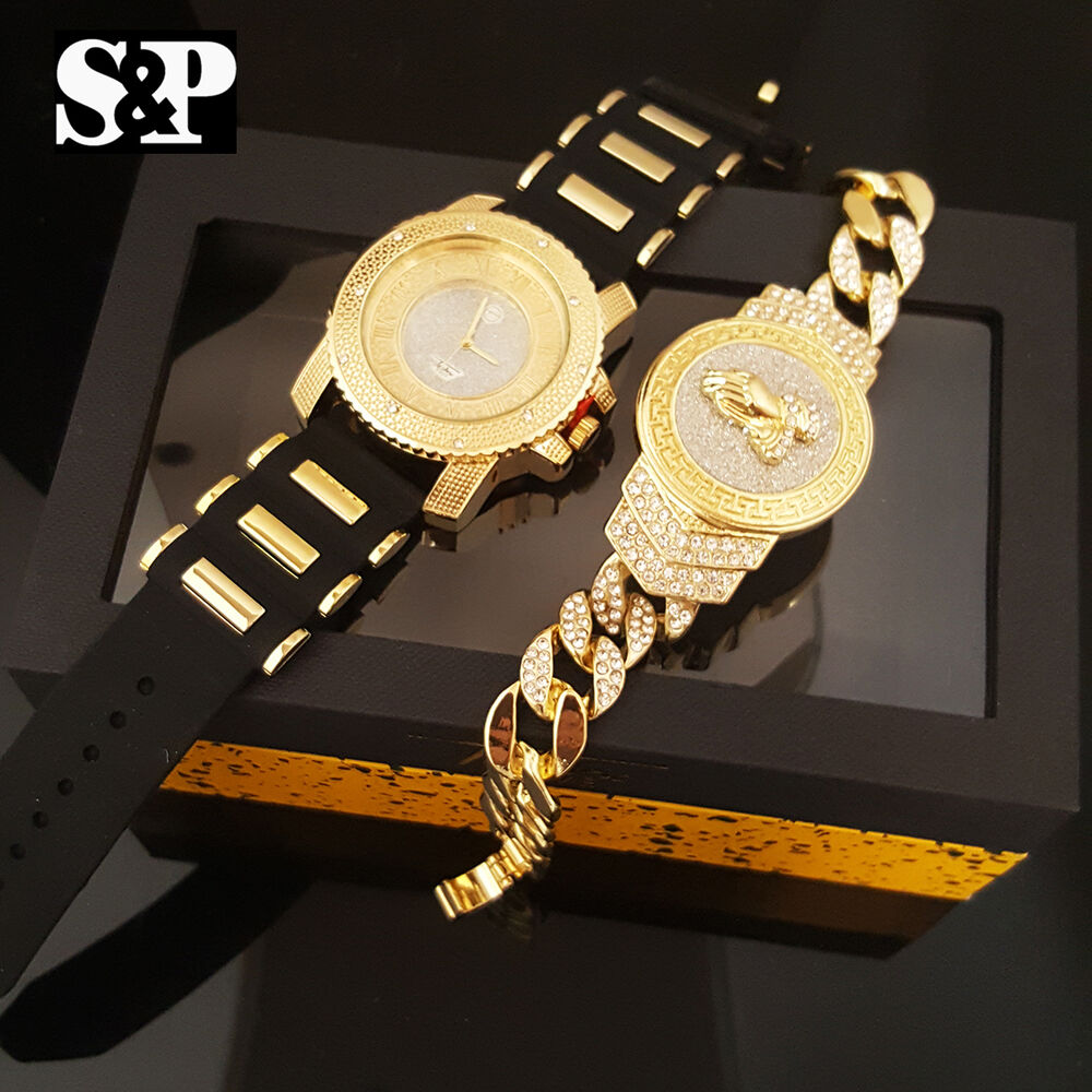 men hip hop iced out bling silicone band watch  u0026 praying hands bracelet gift set