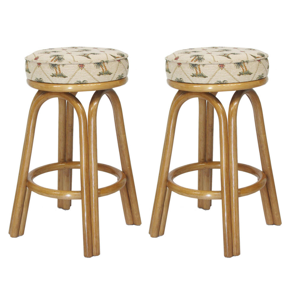 assembled in usa premium rattan backless bar counter stools set of 2 ebay. Black Bedroom Furniture Sets. Home Design Ideas