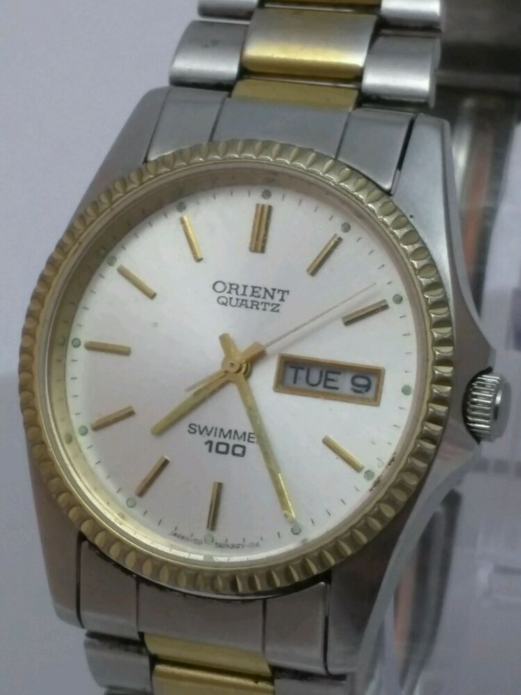 Mens vintage orient day date two tone swimmer 100 meter stainless watch japan ebay for Watches of japan