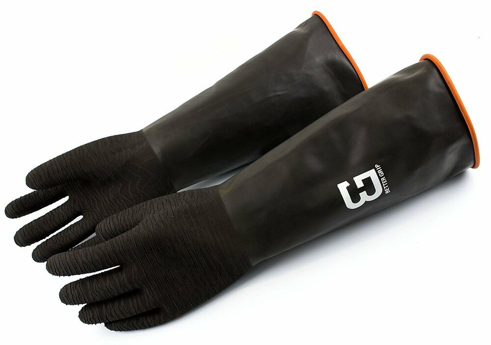 "Oil Resistant Gloves >> Elbow Long Industrial Rubber Chemical Resistant Glove, ANTI- ACID,18"" long (XL) 