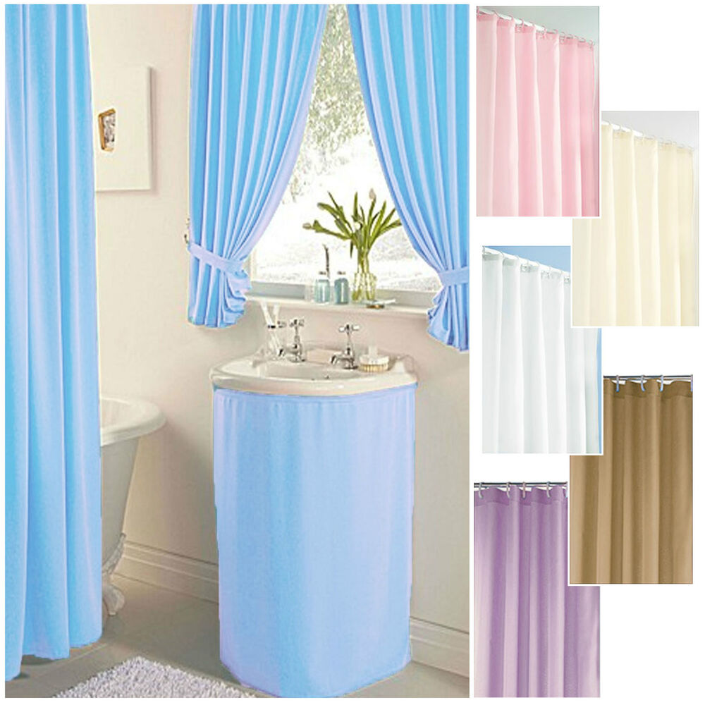 Details About Plain Dyed CLEARANCE Bathroom Shower Curtains Sink Skirts NEW SIZES ADDED