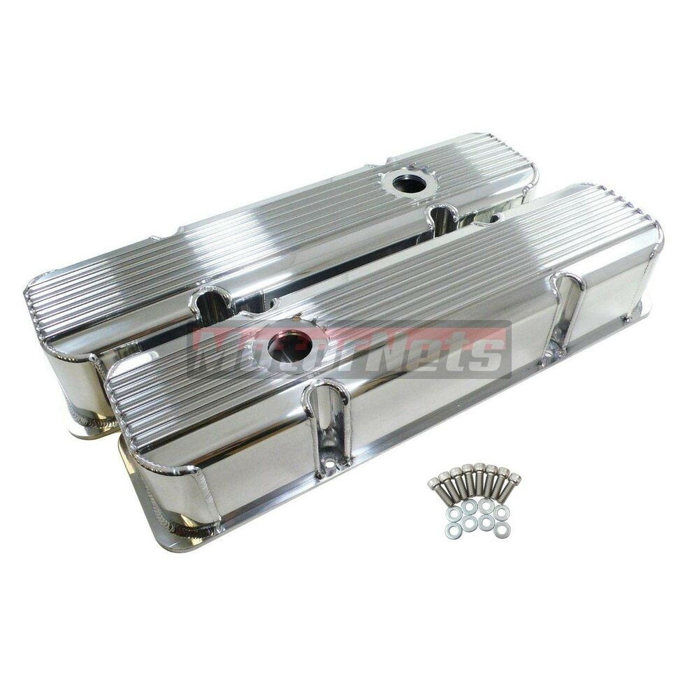 fabricated finned aluminum chevy v8 283 350 valve covers. Black Bedroom Furniture Sets. Home Design Ideas