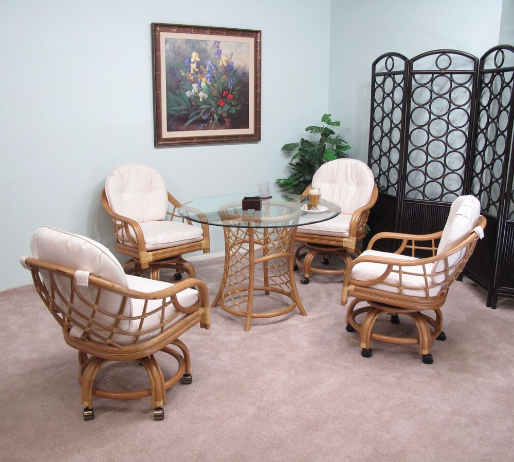 Honey Newton Rattan Caster Chair And Table 5 Piece Dining