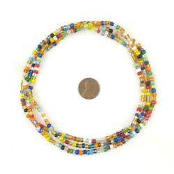 Contemporary Christmas Beads 3mm Ghana African Multicolor Round Glass Handmade